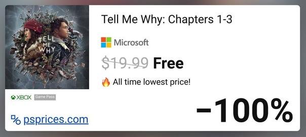 Скидка на игру Xbox До 1 июля в Microsoft Store можно бесплатно получить игру Tell Me Why (все три эпизода).