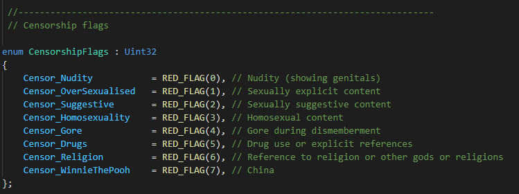 Кажется, переключатель цензуры для Китая в коде Cyberpunk 2077 называется «Винни-Пух»