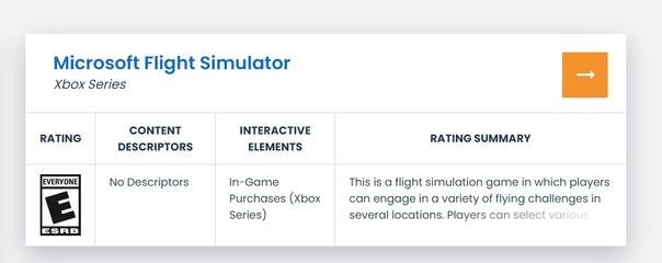 Microsoft Flight Simulator получила возрастной рейтинг «E» («Everyone») — «Для всех». Интересная деталь: никакого упоминания про Xbox One, вероятно игра готовится исключительно для консолей Xbox Series X|S. Ждём анонс на E3!