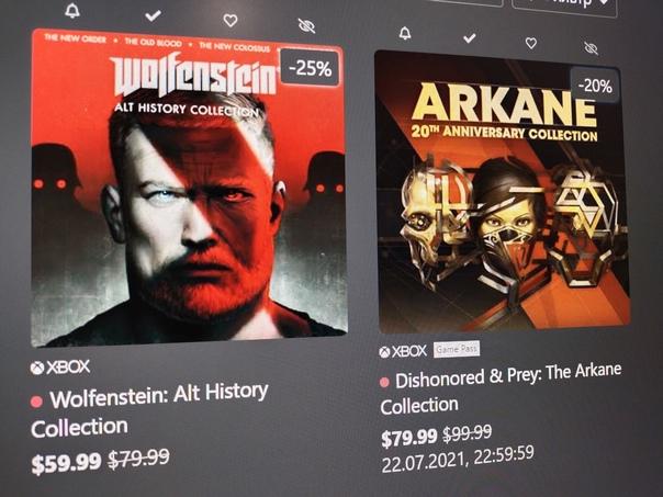Скидка на игру Xbox На этой неделе Bethesda снизила цены в Microsoft Store, на некоторые свои игры и дополнения к ним, например: