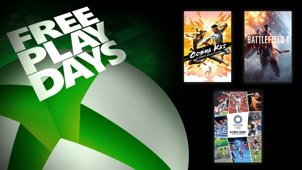На Xbox One и Xbox Series X|S проходят дни бесплатной игры в Battlefield 1, Олимпийские игры Tokyo 2020 – Официальная игра и Cobra Kai: The Karate Kid Saga Continues для пользователей со статусом Gold и обладателей подписки Xbox Game Pass Ultimate. Все игры также можно приобрести со скидками: